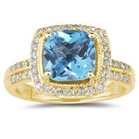 2.50 Carat Cushion Cut Blue Topaz & Diamond Ring in 14K Yellow Gold