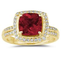 2 1/2 Carat Cushion Cut Garnet & Diamond Ring in 14K Yellow Gold