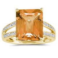 Emerald  Cut  Citrine  and Diamond Ring 10k Yellow  Gold