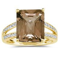 Emerald  Cut   Smokey Quartz  and Diamond Ring 10k Yellow  Gold