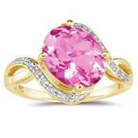 Oval Shaped  Pink Topaz  and Diamond Curve Ring in 10K Yellow  Gold