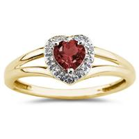 Heart Shaped  Garnet   and Diamond Ring