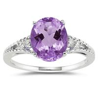 Oval Cut Amethyst & Diamond Ring in 14k White Gold
