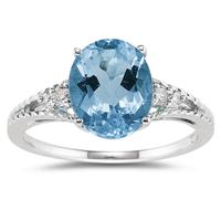 Oval Cut Blue Toapz & Diamond Ring in 14k White Gold