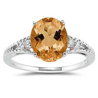 Oval Cut Citrine & Diamond Ring in 14k White Gold