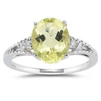 Oval Cut Lemon Quartz & Diamond Ring in 14k White Gold
