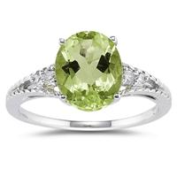 Oval Cut Peridot & Diamond Ring in 14k White Gold