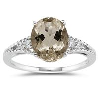Oval Cut Smokey Quartz & Diamond Ring in 14k White Gold