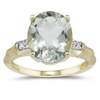 3.97 Carat Green Amethyst and Diamond Ring in 14K Yellow Gold