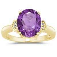 Amethyst  & Diamond Ring in Yellow Gold
