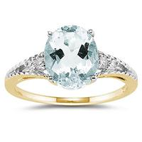 Oval Cut Aquamarine & Diamond Ring in 14k Yellow Gold