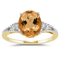 Oval Cut Citrine & Diamond Ring in 14k Yellow Gold