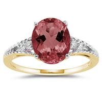 Oval Cut  Garnet & Diamond Ring in Yellow Gold