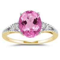 Oval Cut Pink Toapz & Diamond Ring in Yellow Gold