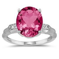 3.50 Carat Pink Topaz and Diamond Ring in 14K White Gold