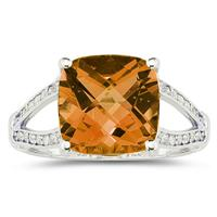 Cushion Cut Citrine and Diamond Ring 10k White Gold