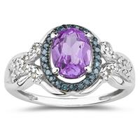 Amethyst and Blue and White Diamond Ring in 10K White Gold