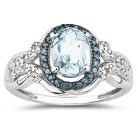 Aquamarine and Blue and White Diamond Ring in 10K White Gold