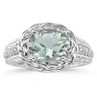 2.33 Carat Oval Shape Green Amethyst and Diamond Ring in 10kt White Gold