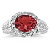 2.33 Carat Oval Shape Garnet and Diamond Ring in 10kt White Gold