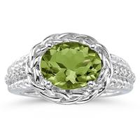 2.33 Carat Oval Shape Peridot and Diamond Ring in 10kt White Gold