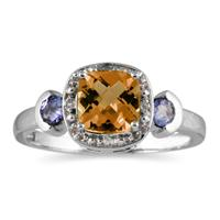 Cushion Cut Citrine & Tanzanite and Diamond White Gold Ring