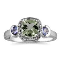 Cushion Cut Green Amethyst & Tanzanite and Diamond White Gold Ring
