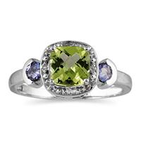 Cushion Cut Peridot & Tanzanite and Diamond White Gold Ring