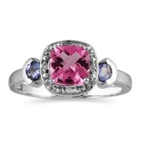 Cushion Cut Pink Topaz & Tanzanite and Diamond White Gold Ring