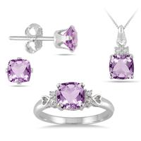 3.40 Carat Cushion Cut Amethyst and Diamond Jewelry Set in .925 Sterling Silver