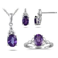 4.25CTW All Natural Amethyst Jewelry Set in Sterling Silver