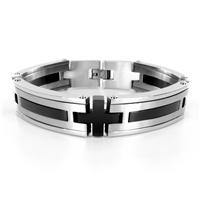 Stainless Steel Black Plated Mens Bracelet (15mm) - 8.5 Inches