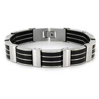Stainless Steel Mens Black Rubber and Polished Link Bracelet
