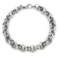 Stainless Steel Mens Large Polished Rolo Chain Bracelet