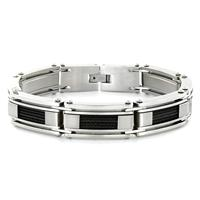 Stainless Steel Black Cable Inlay Link Bracelet