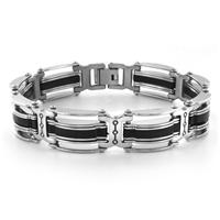 Blackplated Stainless Steel Striped Mens Bracelet
