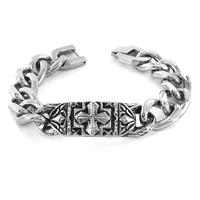 Stainless Steel Ornate Gothic Cross Plate Link Bracelet