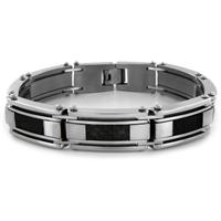 Stainless Steel Black Carbon Fiber and Mesh Link Mens Bracelet