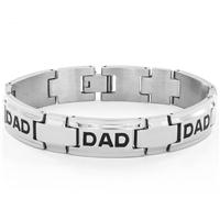Men's High Polish Stainless Steel 'DAD' Link Bracelet