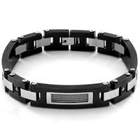 Men's Gunmetal Plated Stainless Steel Cable with Cubic Zirconia Link Bracelet