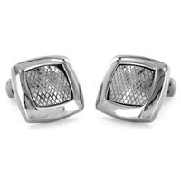 Stainless Steel Square Textured Grid Cuff Links
