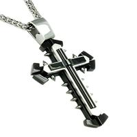 Black Plated Stainless Steel Mens Cross with Spikes on 24 Inch Steel Curb Chain