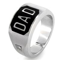 Stainless Steel Black Enamel Cubic Zirconias Dad Ring