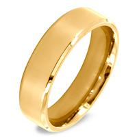 Gold IP Over Stainless Steel Beveled Edge Flat Band Ring