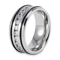 Stainless Steel Mens Ring with Channel Set CZs