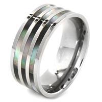 Titanium Triple Abalone Inlaid Ring