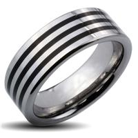 Tungsten Carbide Triple Black Stripes Band Ring