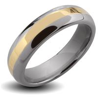 Tungsten Carbide Gold IP Stripe Band Ring