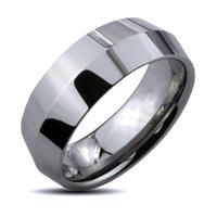 Tungsten Carbide Center Point Faceted Band Ring