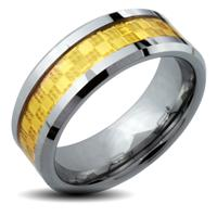 Tungsten Carbide Gold IP Square Checker Inlay Band Ring